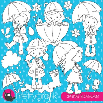 April showers stamps commercial use, vector graphics, images - DS825