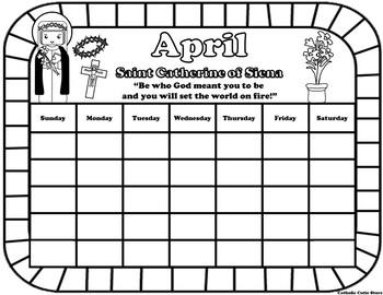 April Catholic Saint Calendar Activities - Saint Catherine of Siena