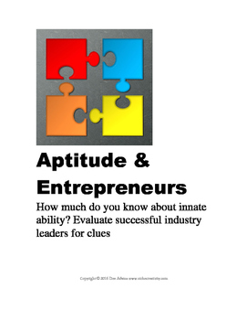 Entrepreneurs and Their Aptitudes: Printable, Q and A, Research Activity