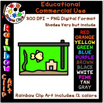 Aqarium / Fish Tank - Rainbow Clipart - 12 Colors -Commercial Use {Simple Clips}