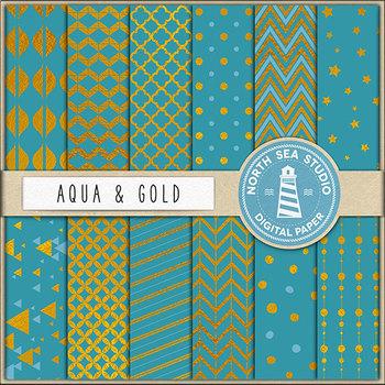 Aqua And Gold Digital Paper {Pretty Graphics}