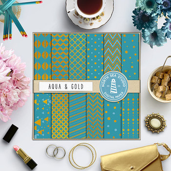 Aqua And Gold Digital Paper