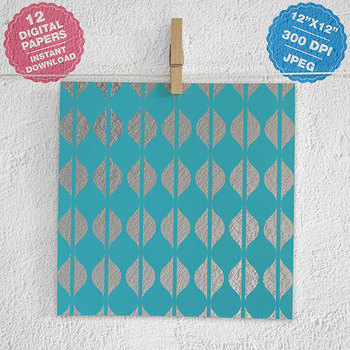 Aqua And Silver Digital Paper, Silver Patterns, Aqua Blue Backgrounds