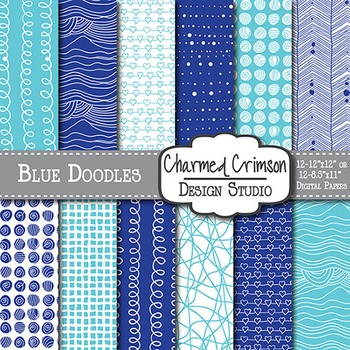 Aqua and Blue Doodle Digital Paper 1463