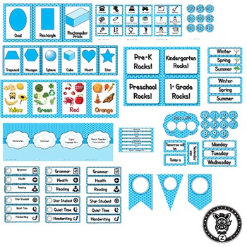 Classroom Theme Decor / Organization - Mega Bundle Editable! Aqua Blue Polkadot