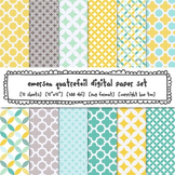 Aqua, Blue, Yellow and Gray Quatrefoil Digital Paper, for
