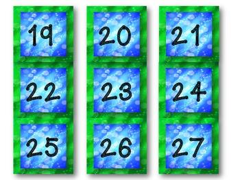Aqua, Blue, and Green Calendar Numbers