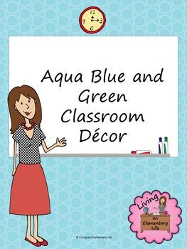 Aqua Blue and Green Classroom Decor