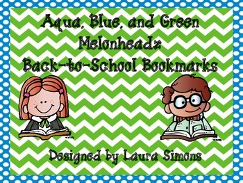 Aqua, Blue, and Green Melonheadz Back-to-School Bookmarks