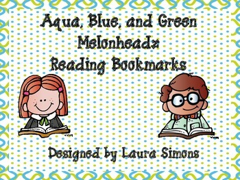 Aqua, Blue, and Green Melonheadz Reading Bookmarks