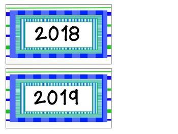 Aqua, Blue, and Green Calendar Months set 2