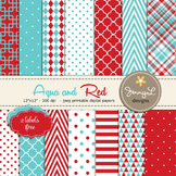 Aqua Blue and Red Digital Papers, Red and Turquoise