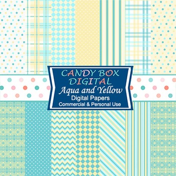 Aqua Blue and Yellow Digital Background Papers