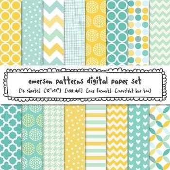 Aqua, Blue and Yellow Digital Papers: Chevrons, Stripes, Polka Dots, Quatrefoil