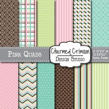 Aqua, Brown, Pink, and Lime Green Digital Paper 1436