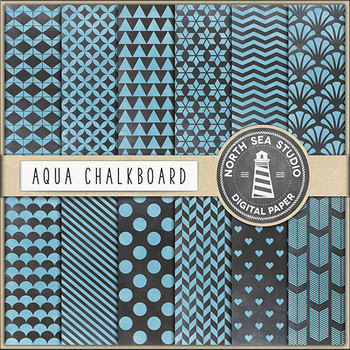 Aqua Chalkboard Digital Paper {Pretty Graphics}