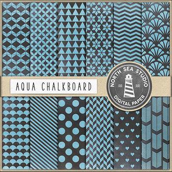 Aqua Chalkboard Digital Paper