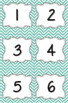 Aqua Chevron Calendar Numbers or Number Cards