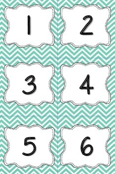 Aqua Chevron Calendar Numbers or Number Cards