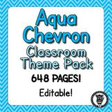 Classroom Theme Decor / Organization - Mega Bundle (Editable!) - Aqua Chevron