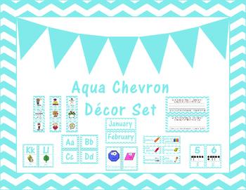 Aqua Chevron Classroom Decor Set