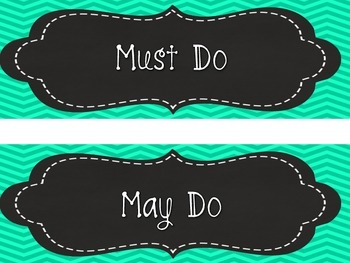 Aqua Chevron Daily Schedule Cards + Bonus May Do/Must Do and Missing Work Cards)