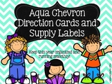 Aqua Chevron Direction Cards AND Supply Labels