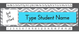 Aqua Chevron Editable Student Name Tag (With Picture Spot!)