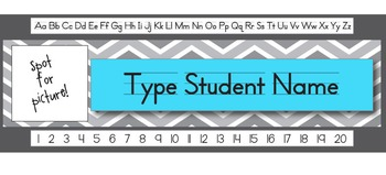 Aqua Chevron Editable Student Name Tag (With Picture Spot!)