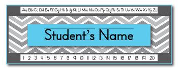 Aqua Chevron Editable Student Name Tags