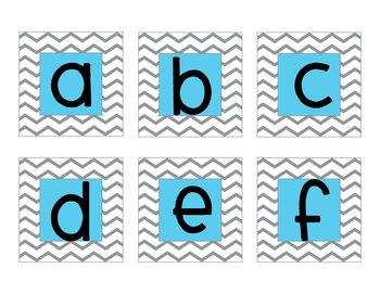 Aqua Chevron Letter Cards (Word Wall)