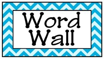 Aqua Chevron Word Wall