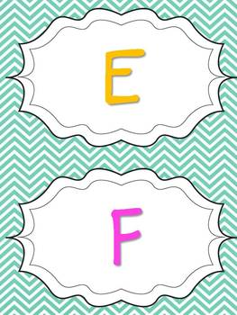 Aqua Chevron Word Wall Letters