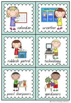 Aqua Themed Classroom Job and Helper Cards - Back to School