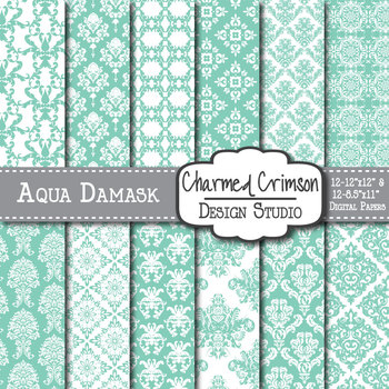 Aqua Damask Digital Paper 1112
