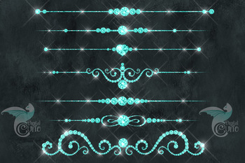 Aqua Diamond Dividers Clipart