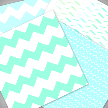 Aqua Digital Paper Pack  - 12x12 - High Resolution .JPG files