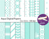 Aqua Digital Papers for Backgrounds, Scrapbooking and Clas