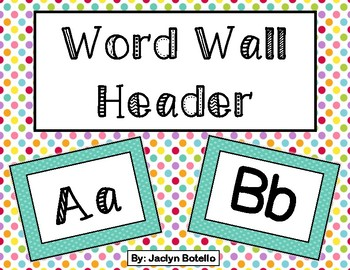 Aqua Dot Word Wall Header