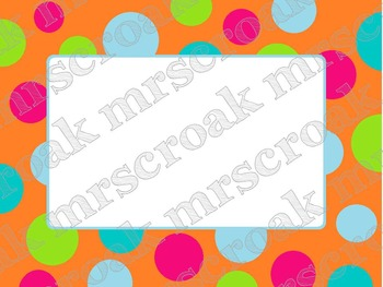 Labels: Orange & Turquoise polka dots, 10 per page