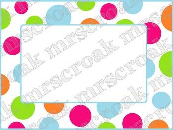 Labels: hot pink & colorful polka dots, 10 per page