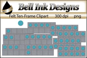 Aqua Felt Ten Frames Clipart