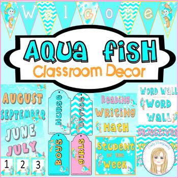 Aqua Fish Classroom Decor Bundle