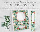Aqua Floral BINDER COVER | Google Slides Template | DIY Printable