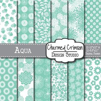 Aqua Floral Digital Paper 1460