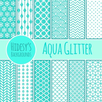 Aqua Glitter Backgrounds / Digital Papers / Patterns Clip Art Commercial Use
