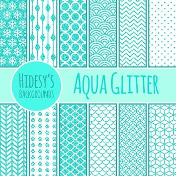 Aqua Glitter Backgrounds / Digital Papers / Patterns Clip