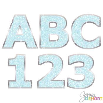 Alphabet -Aqua Glitter Bling Clipart