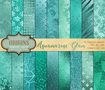 Aqua Glitter Glam Foil Textures, Backgrounds and Digital Paper scrapbooking pack