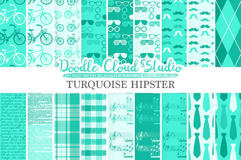Aqua Hipster digital paper, Vintage Retro Turquoise patterns, Father's day